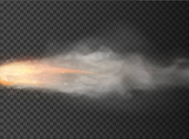 ilustrações de stock, clip art, desenhos animados e ícones de rocket, bullet trail smoke isolated on transparent background - exhaust white background