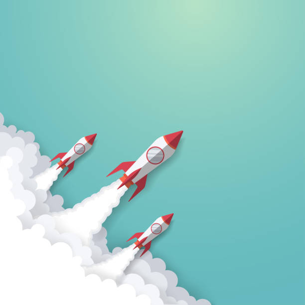 stockillustraties, clipart, cartoons en iconen met rocket business concept - raket ruimteschip