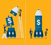 Business team startup with space rocket. Concept business vector illustration.