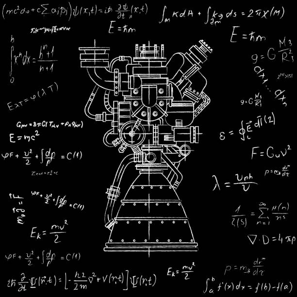 rocket engine design. it can be used as an illustration for the high-tech, engineering development and research - formula 1 stock illustrations