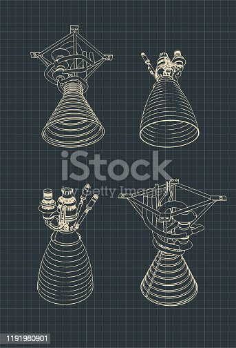 Stylized vector illustration drawings of rocket engines