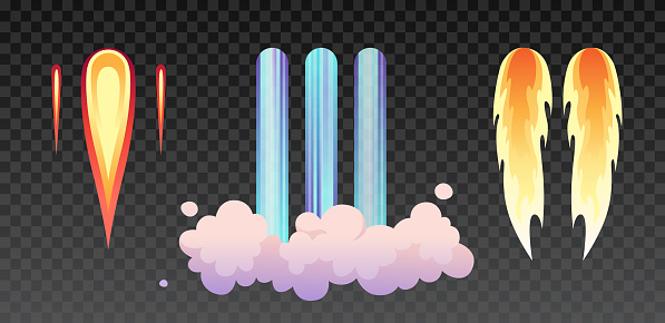 Rocket fire and smoke trails, airplane shuttle contrails isolated set on transparent. Vector realistic spacecraft startup launch. Space rocket start, jet fire flames, airplane shuttle contrails