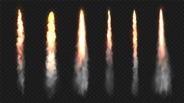 Rocket fire and smoke trails, vector realistic spacecraft startup launch elements. Space rocket launch or startup jet fire flames, airplane shuttle contrails, isolated set on transparent background Rocket fire and smoke trails, vector realistic spacecraft startup launch elements. Space rocket launch or startup jet fire flames, airplane shuttle contrails, isolated set on transparent background smoke physical structure stock illustrations