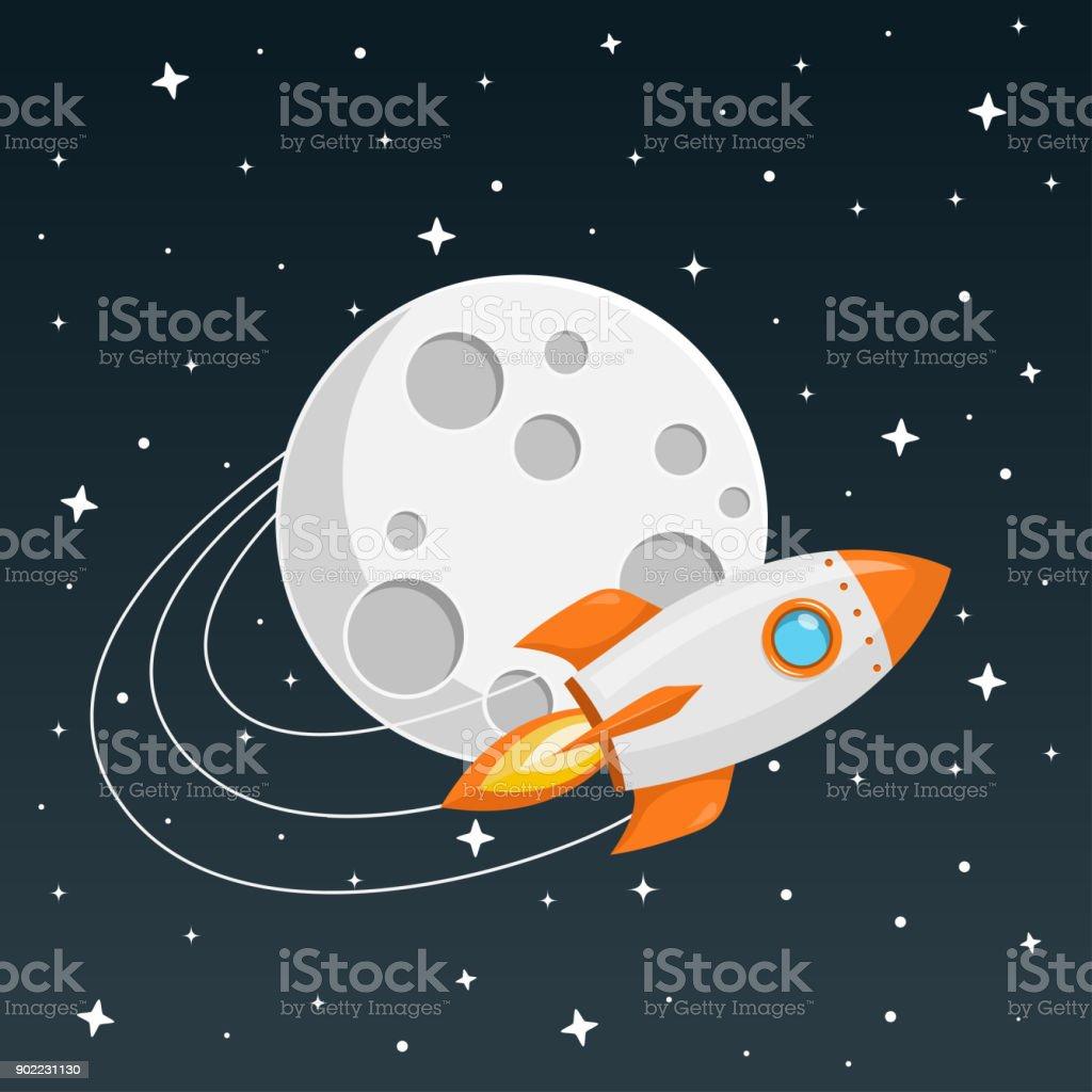 Rakete flaches Design – Vektorgrafik