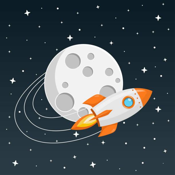 stockillustraties, clipart, cartoons en iconen met raket flat design - moon