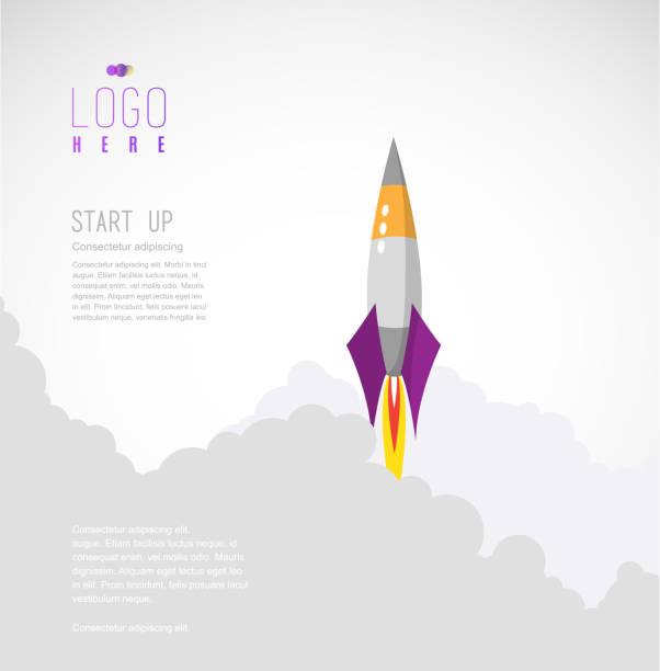 ilustrações, clipart, desenhos animados e ícones de foguete voa até o céu folhas atrás de nuvens de fumaça. modelo de site de inicialização vetor simples. - foguete espacial