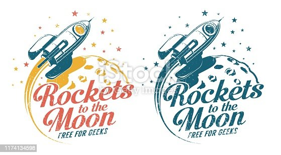 A rocket flying around the moon - vintage emblem poster print. Grunge worn textures on separate layer.
