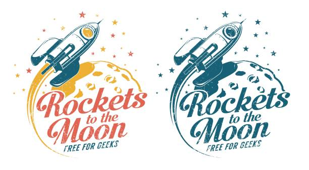 Bекторная иллюстрация A rocket flying around the moon - vintage emblem poster print