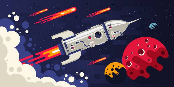 Bекторная иллюстрация Rocket flying in space to other planets