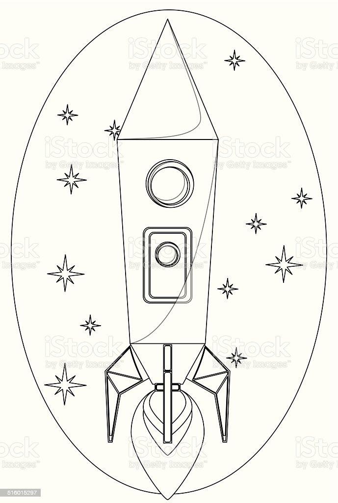 Ilustración de Cohete En El Espacio Aéreo Entre Un Contorno De ...