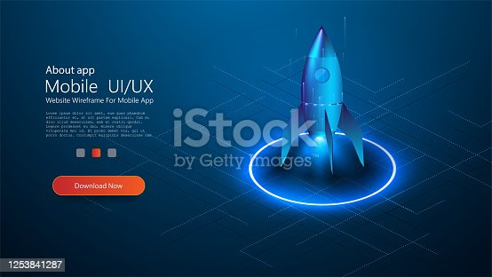 Rocket flying in up, start up concept, design banner template, isometric style. Business start up concept. Rocket taking off with fire over neon glowing circle on blue background. Vector illustration