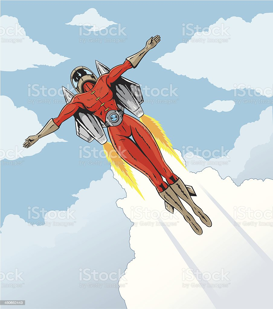 Rocket girl vector art illustration