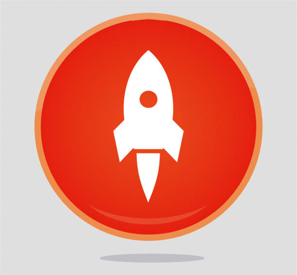 ilustrações, clipart, desenhos animados e ícones de ícone de foguete  - foguete espacial