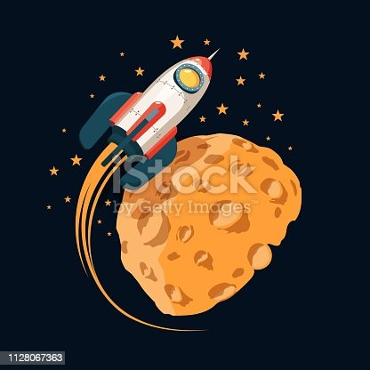 Rocket in space orbits  planet like the moon. Color cartoon illustration.