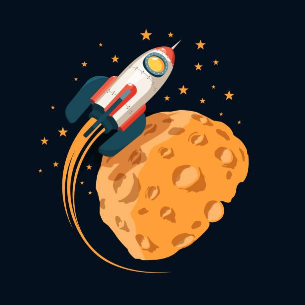 Bекторная иллюстрация Rocket in space orbits  planet like the moon