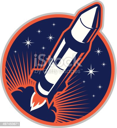 istock Rocket in Space 497453671