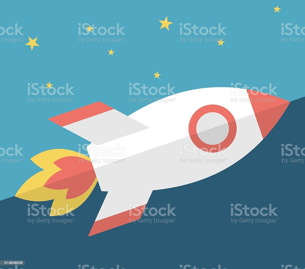 Rocket in the sky vector art illustration