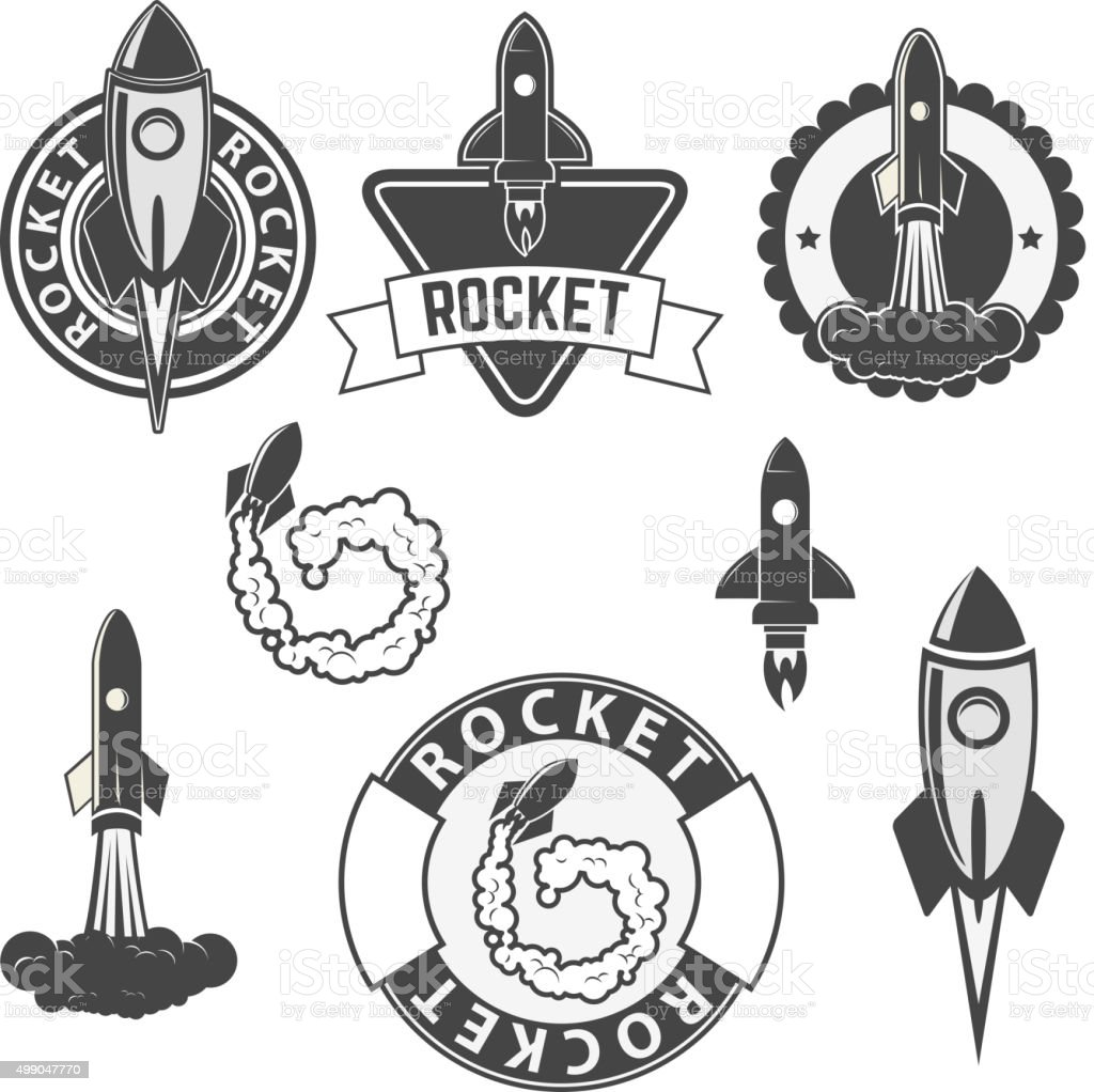rocket labels set. vector art illustration