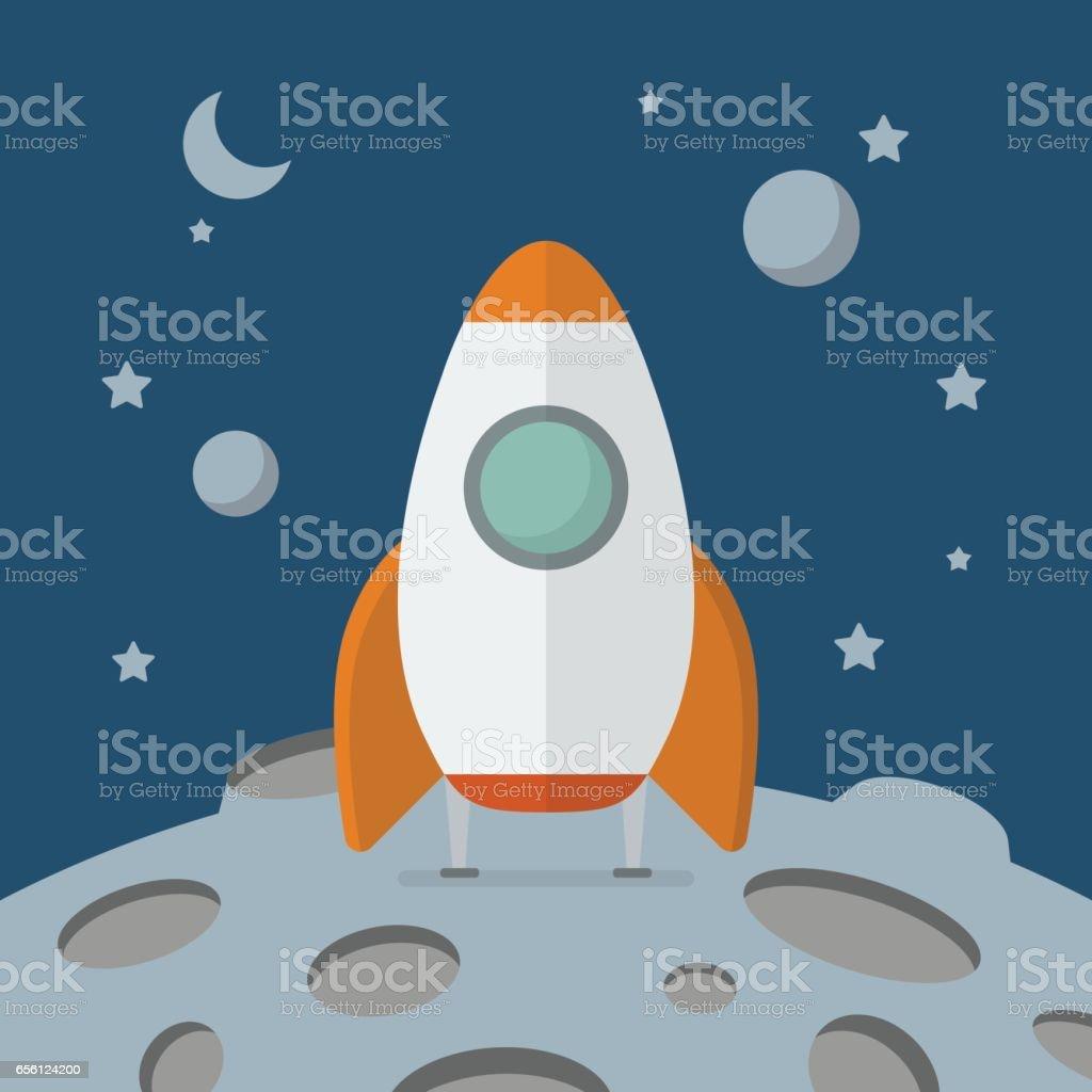 Rocket landed on the moon vector art illustration