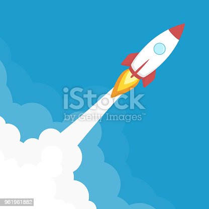 Rocket ship launch. Start Up background. Concept of business product on a market or startup. Creative idea, rocketship template in flat style. Vector illustration EPS 10.