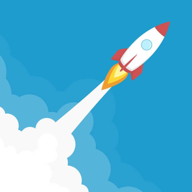 ilustrações, clipart, desenhos animados e ícones de banner de lançamento do foguete. - foguete espacial