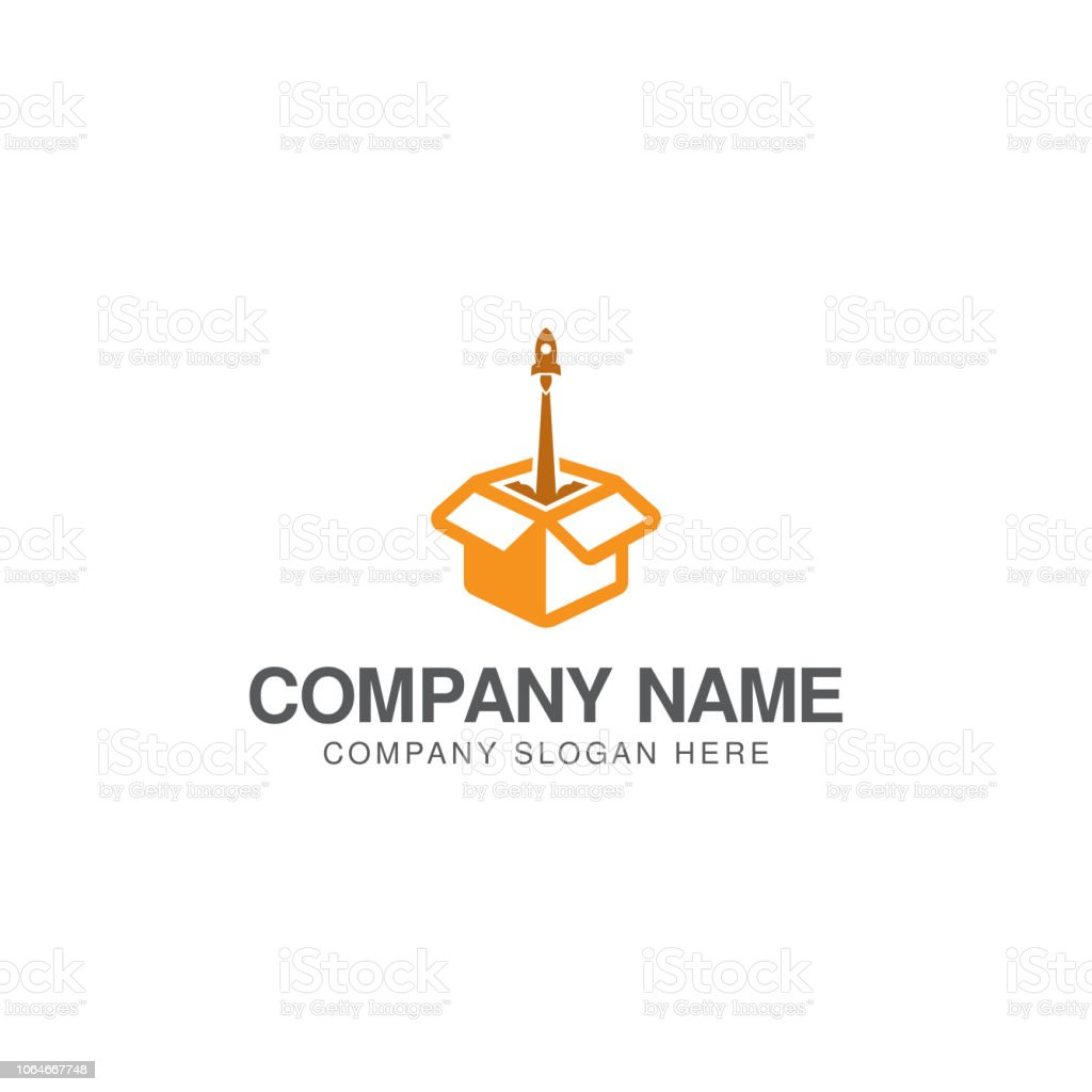 Rocket Launch Box Logo Design Vector Template Stock