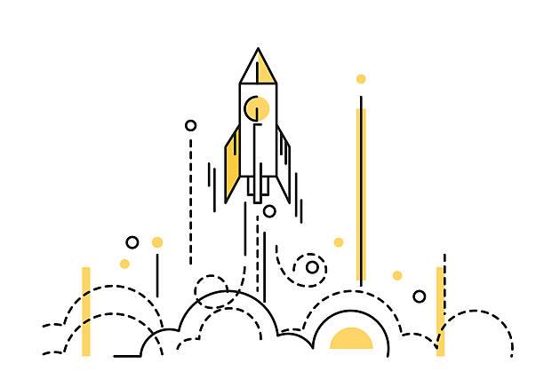stockillustraties, clipart, cartoons en iconen met rocket launch. creative start up. - ruimte exploratie