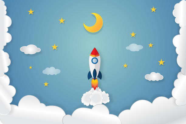 rocket launch flying, half moon, clouds and stars in the night as paper art and craft style concept. vector illustrator. - abstract of paper spaceship launch to space stock illustrations, clip art, cartoons, & icons