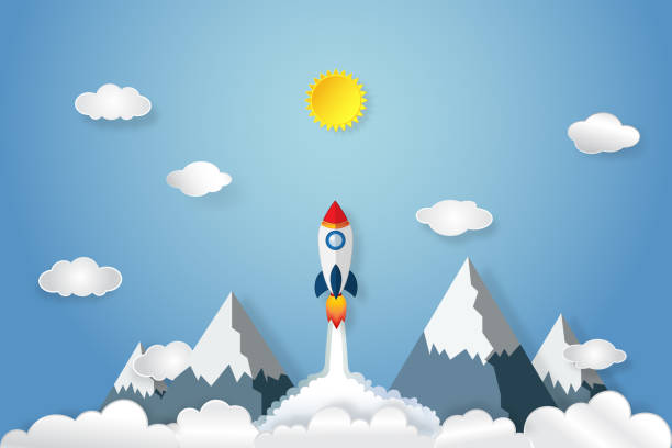 rocket launch flying, sun, clouds in the morning as paper art and craft style concept. vector illustrator. - abstract of paper spaceship launch to space stock illustrations, clip art, cartoons, & icons