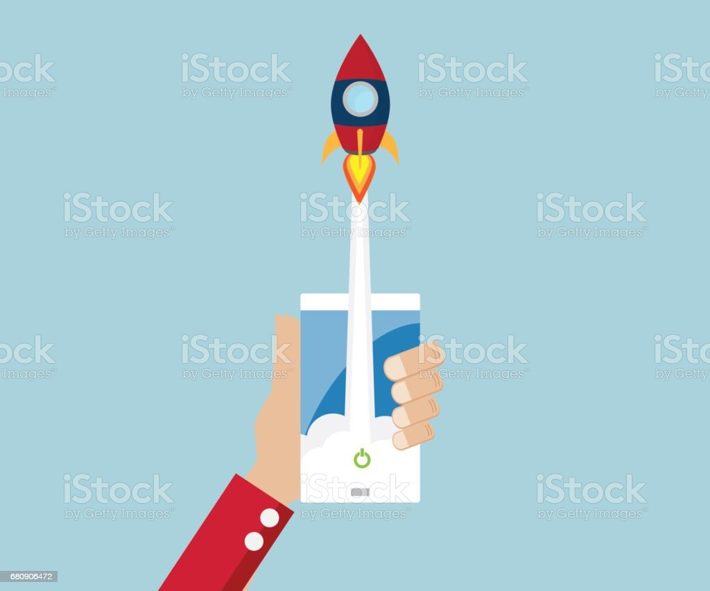 rocket launch from mobile start up business concept royalty-free rocket launch from mobile start up business concept stock vector art & more images of abstract