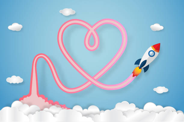 rocket launch has exhaust smoke is heart on clouds and blue sky as paper art, craft style, love and valentine's day concept. vector illustrator. - abstract of paper spaceship launch to space stock illustrations, clip art, cartoons, & icons