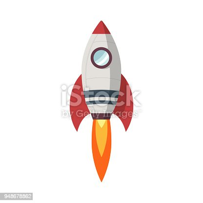 Rocket launch icon in flat design on white background