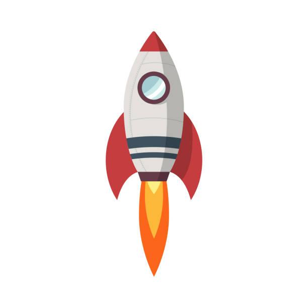 ilustrações, clipart, desenhos animados e ícones de ícone de lançamento de foguetes, design plano - foguete espacial