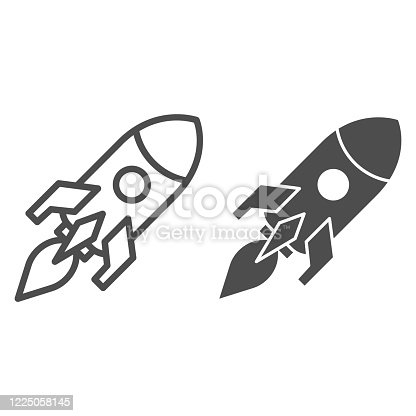 Rocket launch line and solid icon. Business startup symbol, outline style pictogram on white background. Campaign launch sign for mobile concept and web design. Vector graphics