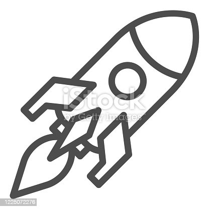 Rocket launch line icon. Business startup symbol, outline style pictogram on white background. Campaign launch sign for mobile concept and web design. Vector graphics