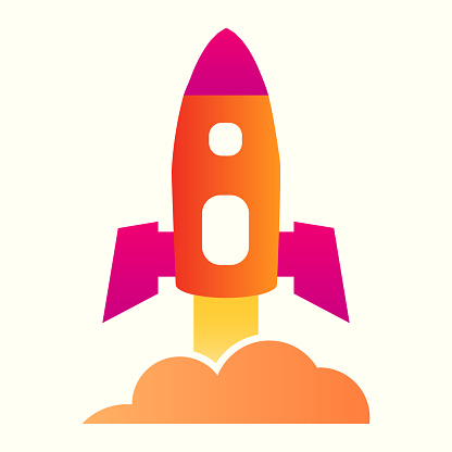 Rocket launch line icon. Spacecraft flying up, getting off the ground. Astronomy vector design concept, outline style pictogram on white background, use for web and app. Eps 10.