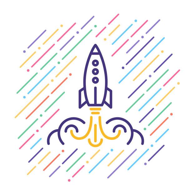 ilustrações, clipart, desenhos animados e ícones de ícone de linha de lançamento de foguete - foguete espacial