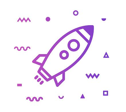 Rocket Launch Line Style Icon Design