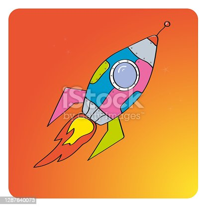 istock Rocket launch. New project start up concept in flat design style. Vector illustration - Vector graphics 1287640073