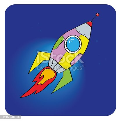 istock Rocket launch. New project start up concept in flat design style. Vector illustration - Vector graphics 1287640102