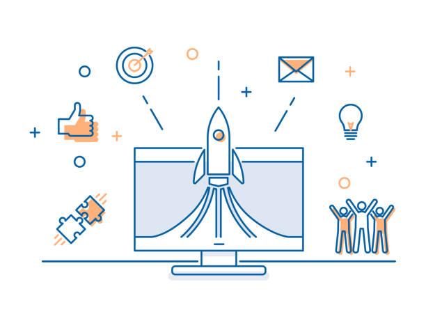 illustrations, cliparts, dessins animés et icônes de lancement de la fusée sur un écran d'ordinateur avec la bannière icônes commerciales. concept d'illustration de vecteur pour lancement de démarrage réussi, travail d'équipe, affaires, médias sociaux, stratégies créatives, publicité - décoller activité
