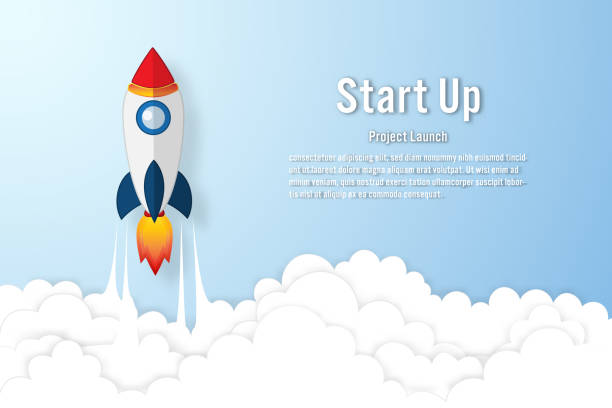 rocket launch on the clouds and blue sky as paper art, craft style and business startup project concept. flat design vector illustration. - abstract of paper spaceship launch to space stock illustrations, clip art, cartoons, & icons