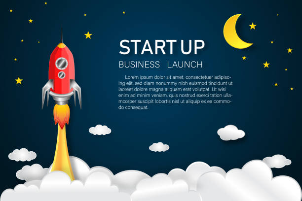 rocket launch on the half moon, clouds and blue sky in the dark night as paper art, craft style and business startup project concept. flat design vector illustration. - abstract of paper spaceship launch to space stock illustrations, clip art, cartoons, & icons