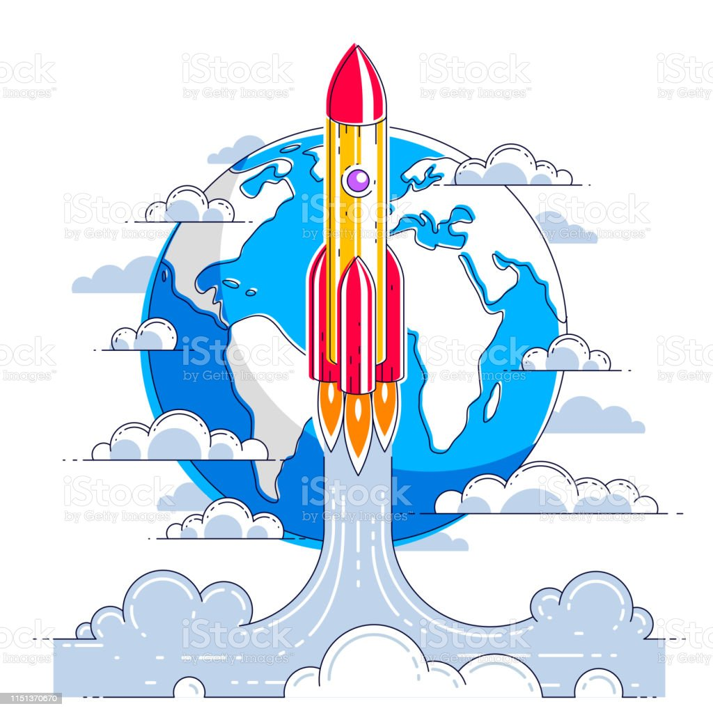 Rocket Launch Over Planet Earth Into Undiscovered Space Explore