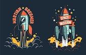 Rocket launch retro emblem. Rocketship start to the Mars vintage poster template. Vector illustration.