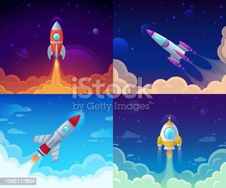 Rocket launch. Space travel, galaxy rocket ship and business plan success start. Rocket ship booster flight technology, galaxy cosmos spaceship vector cartoon concept illustration