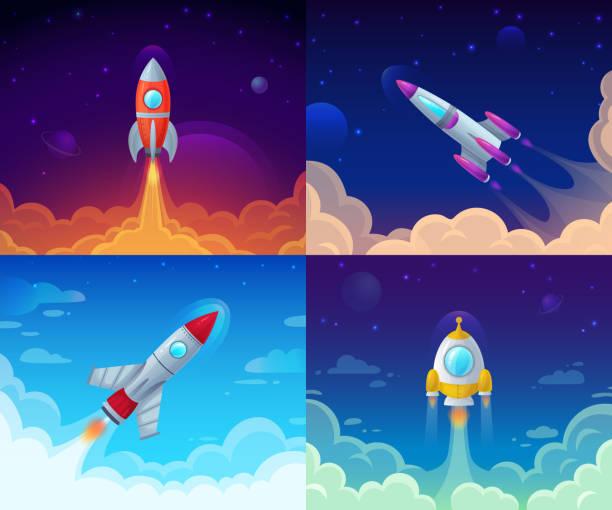 ilustrações, clipart, desenhos animados e ícones de lançamento de foguete. viagens espaciais, galáxia foguete e ilustração conceito de negócios plano sucesso início vetorial dos desenhos animados - foguete espacial