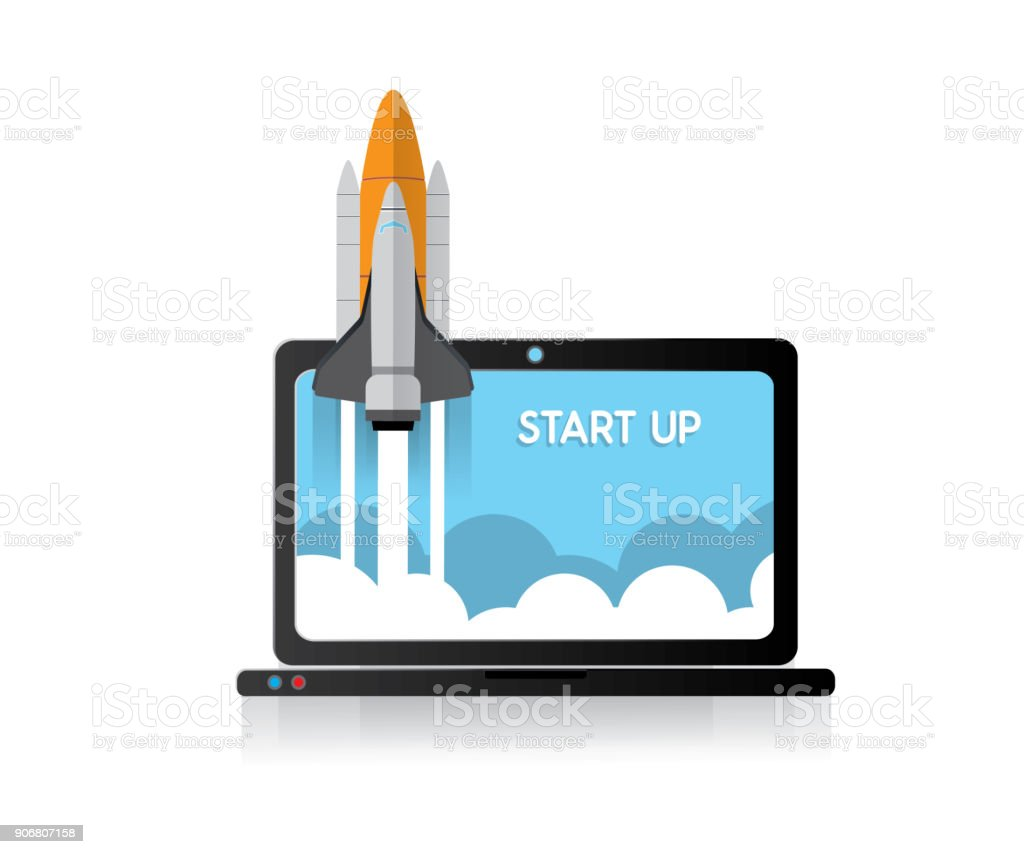 Rocket Launch Start Up On Laptop Computer Stock Illustration