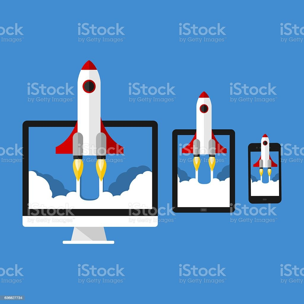 Rocket Launch Start Up Project On Monitor, Tablet And Smartphone vector art illustration