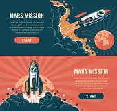 istock Rocket launch startup flyer - vintage style 1296815270